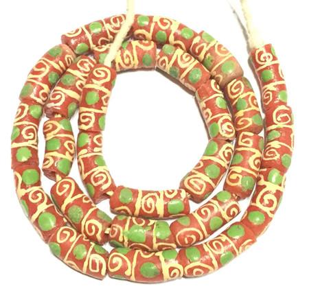 Coral Orange Green Eye Handmade Krobo Recycled Glass African Trade Beads-Ghana
