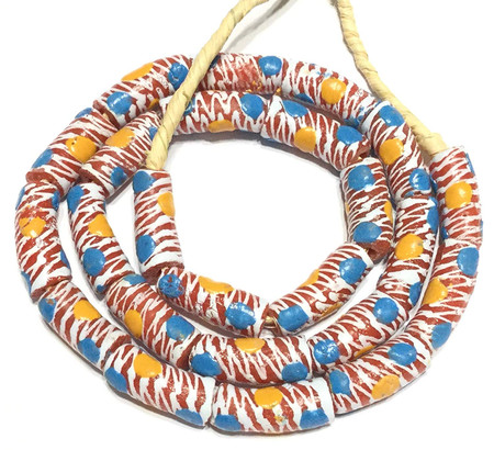24 African red with Spiral White with Blue and Orange dots Krobo powderglass Fairtrade Beads from Ghana