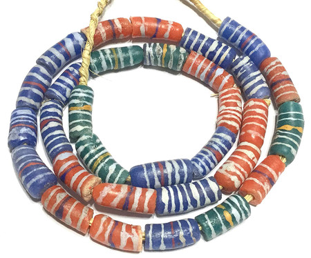 30 African Blue and Green and red Krobo powderglass Fairtrade Beads from Ghana