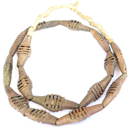 Handmade Ghana African lost Wax natural tabular Brass trade Beads