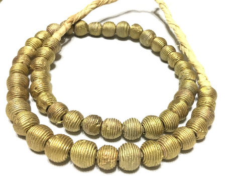 10mm Ghana lost Wax natural stacks wrapped weave African Brass trade Beads-Ghana