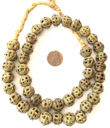 Ghana African lost Wax natural Round weave Brass African trade Beads