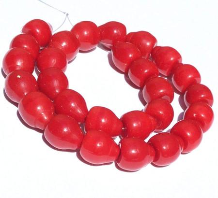 27 PCS Trade Czech Bohemian Opaque Red Drop Glass Beads