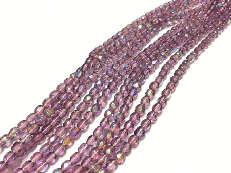 Hank of 10 Strands 4mm Czech Amethyst Fire Polished Beads