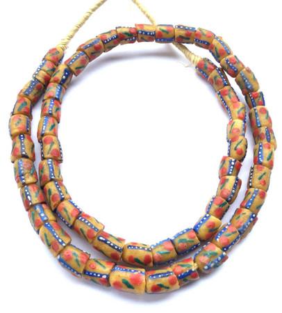 Fine Handmade Mustard Yellow Multi Krobo Recycled Glass African Trade Beads-Ghana