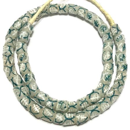 Fine Handmade Teal Multi Cylinder Krobo Recycled Glass African Trade Beads-Ghana
