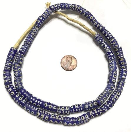 Fine Handmade Dark Blue Multi Krobo Recycled Glass African Trade Beads-Ghana