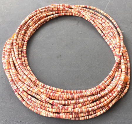 Magic mixed Cranbery red/White Recycled Phono Record Vinyl African trade beads-Ghana