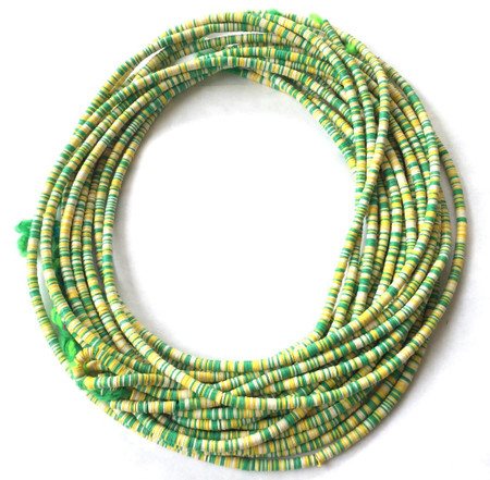 Magic mixed multi green/White Recycled Phono Record Vinyl African trade beads-Ghana