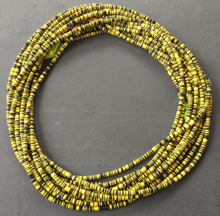 Magic mixed Black and yellow multi Recycled Phono Record Vinyl African trade beads-Ghana