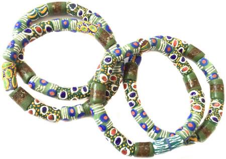Handmade Ghana Green multi eye mixed bracelet-African Trade Beads-Ghana