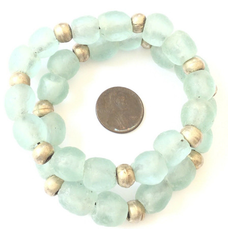 Handmade Fashionable Mint Green and Silver bracelet-African Trade Beads-Ghana