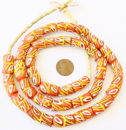 Royal Orange Multi handmade Krobo recycled Glass African trade Beads-Ghana