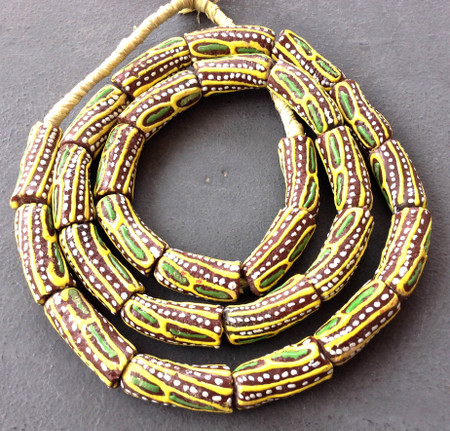 Brown with yellow and green African fancy Krobo Powderglass beads