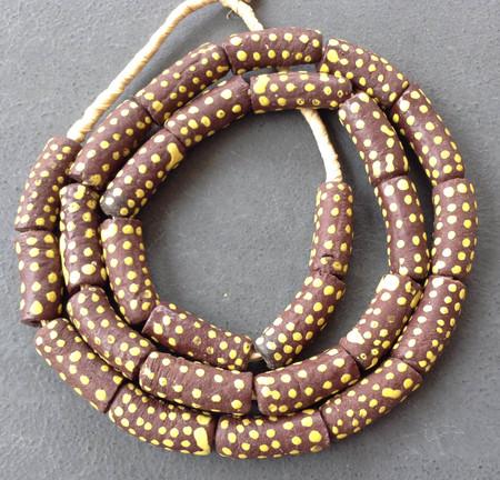 Brown with yellow dots African fancy Krobo Powderglass beads