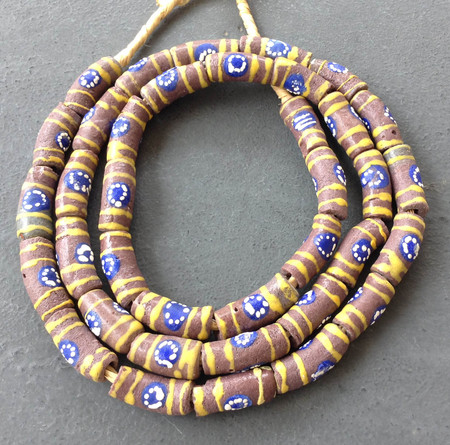 Yellow banded Cocoa brown African fancy Krobo Powderglass beads