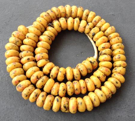 Mustard yellow crumb disk African fancy Krobo beads