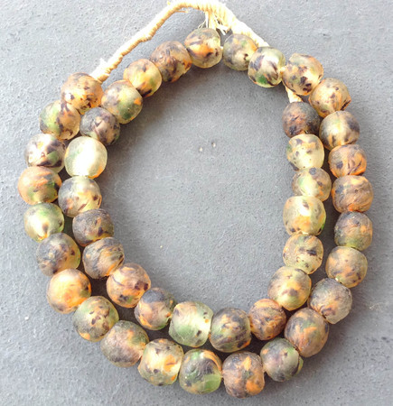 14mm Multi colored Sea Glass Krobo recycled Glass African trade Beads