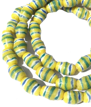 Ghana Yellow Banded Recycled Bicone glass African trade beads