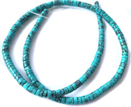 Fine Turquoise with black vein Heishi Gemstone beads Stone-jewelry Supplies