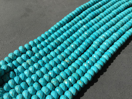 Fine Turquoise faceted rondelle Gemstone beads Gemstone Beads