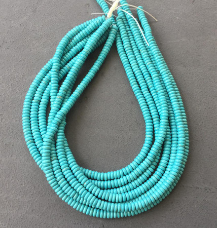 6mm Natural Turquoise Rondelle gemstone beads