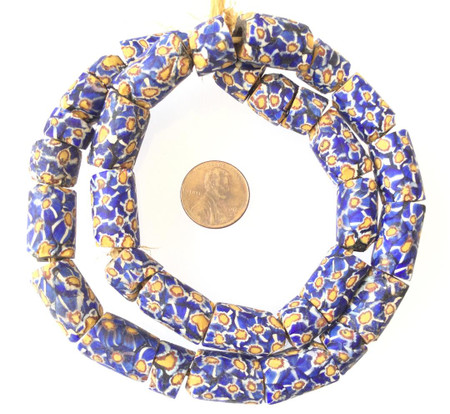 Blue multi Antique matched Old Venetian Millefiori Glass Trade beads