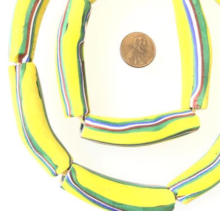 Old Banana yellow Millefiori Venetian elbow glass trade beads