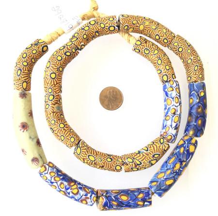 Mixed Elbows Old Rare Antique Venetian Millefiori glass African trade beads