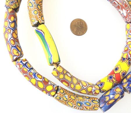 Assortment Elbows Old Rare Antique Venetian Millefiori glass African trade beads