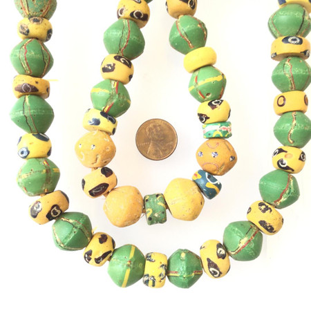Venetian Mixed Antique King Wound bicone green and yellow Glass Trade beads