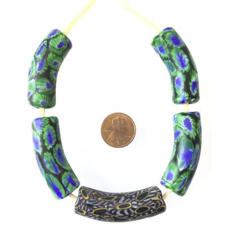 New Venetian Green and dark blue multi Millefiori glass African trade beads