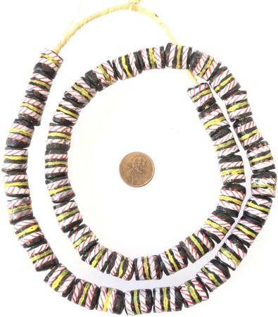 Ghana Kente design Krobo recycled Glass African trade Beads-Ghana