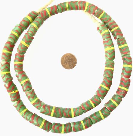 Ghana Christmas color Millefiori Krobo recycled Glass African trade Beads-Ghana
