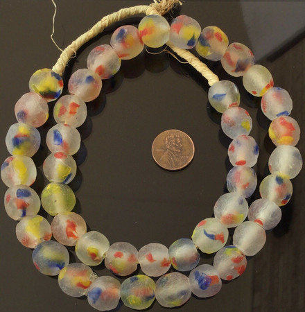 Amazing Multi Colored Made in Ghana Recycled glass African trade beads-Ghana-14m