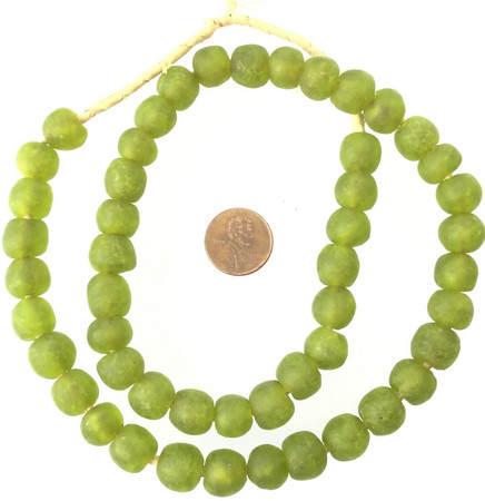 12mm Made in Ghana Olive Green Recycled glass African trade beads-Ghana