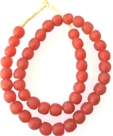 Amazing Red Colored Made in Ghana Recycled glass African trade beads-Ghana-14mm