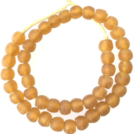Amazing Made in Ghana Recycled glass Light Topaz African trade beads-Ghana-14m