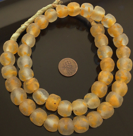 14mm African Pumpkin Orange Recycled glass African trade beads-Ghana