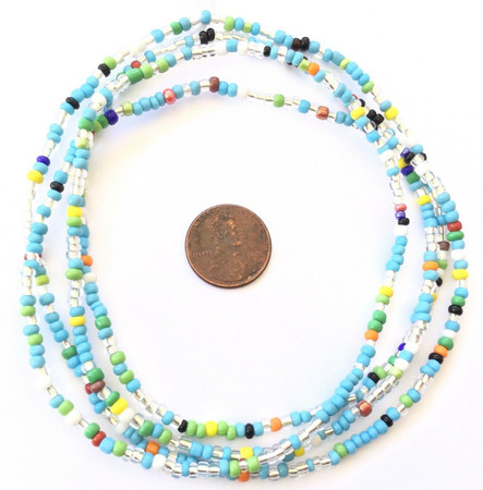 Vintage Strand of Ghana Beads Blue Turquoise mixed Glass African Trade Beads-Ghana