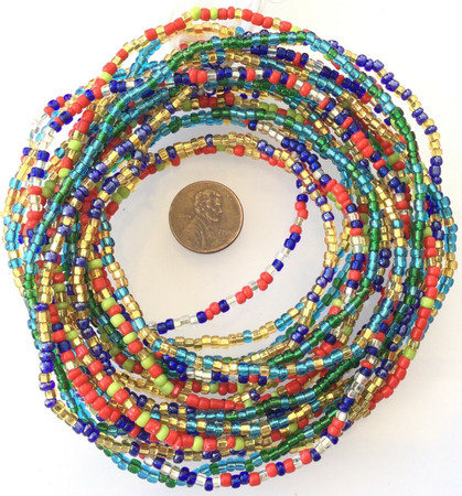 4 Strands Multi Colored Fine African Trade Beads-Ghana