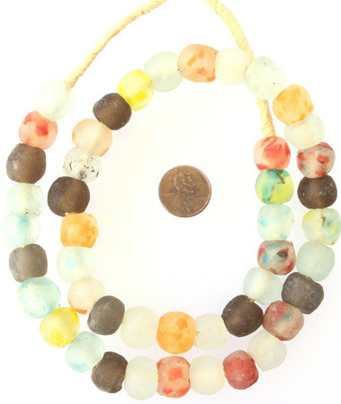 Amazing Ghana mixed Colored Krobo recycled Glass African trade Beads-Ghana