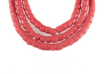 African Ghana Krobo Recycled Red Glass trade beads