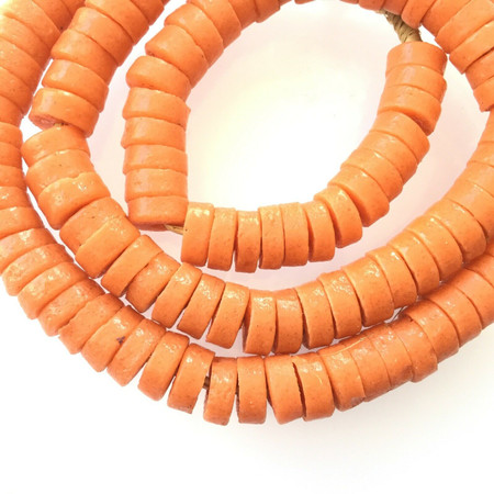 11x4mm Made in Ghana recycled glass Opaque Orange disk African Trade Beads-Ghana