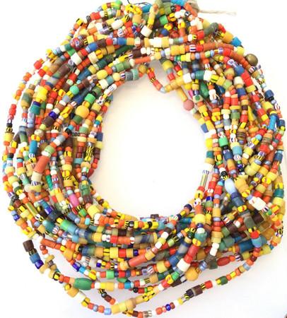 10 Strands Vintage Tiny Christmas Beads Akan Medley African Trade Beads-Ghana