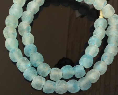 Matte Sea Blue Handmade Krobo recycled Glass African trade Beads-Ghana