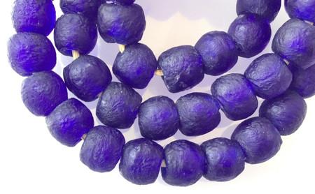 Ghana Round Cobalt Blue handmade Recycled glass African trade beads-Ghana