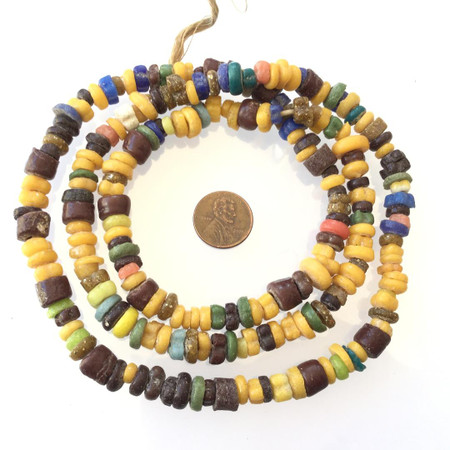 African earth tone Assortment Handmade Ghana Powder-Glass African Trade beads-Ghana