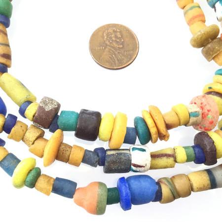 Multi color African Assortment Handmade Ghana Powder-Glass African Trade beads-Ghana