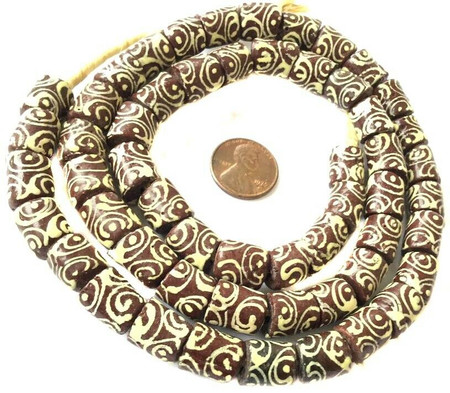 Brown Multi Zen handmade Ghana Krobo recycled Glass African trade Beads-Ghana